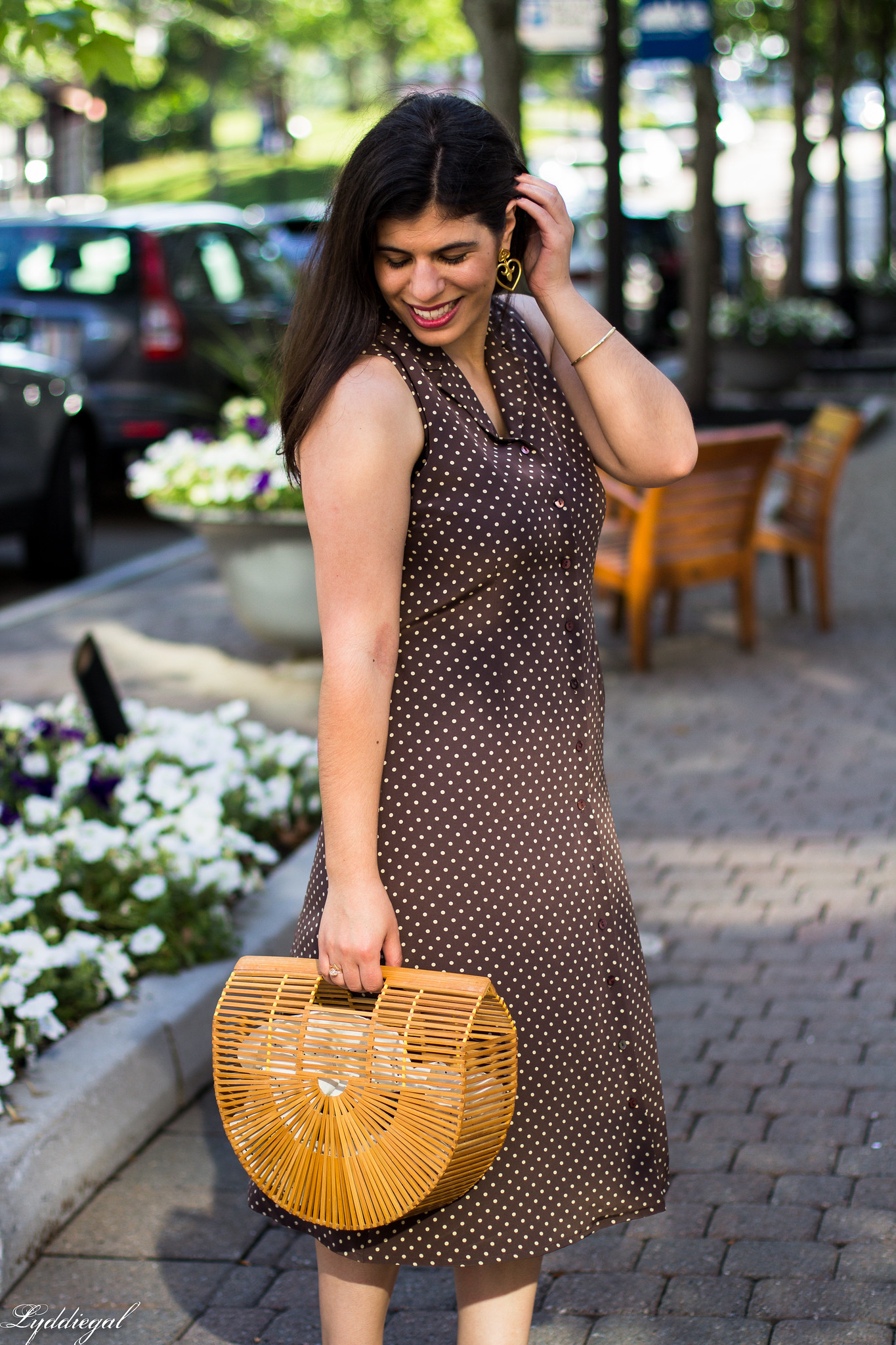 Brown polka dot midi dress, toe cap heels, bamboo bag-7.jpg