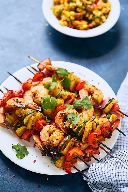 Grilled Spicy Shrimp and Veggie Skewers with Pineapple Turmeric Salsa {gluten-free, paleo, Whole30, keto}