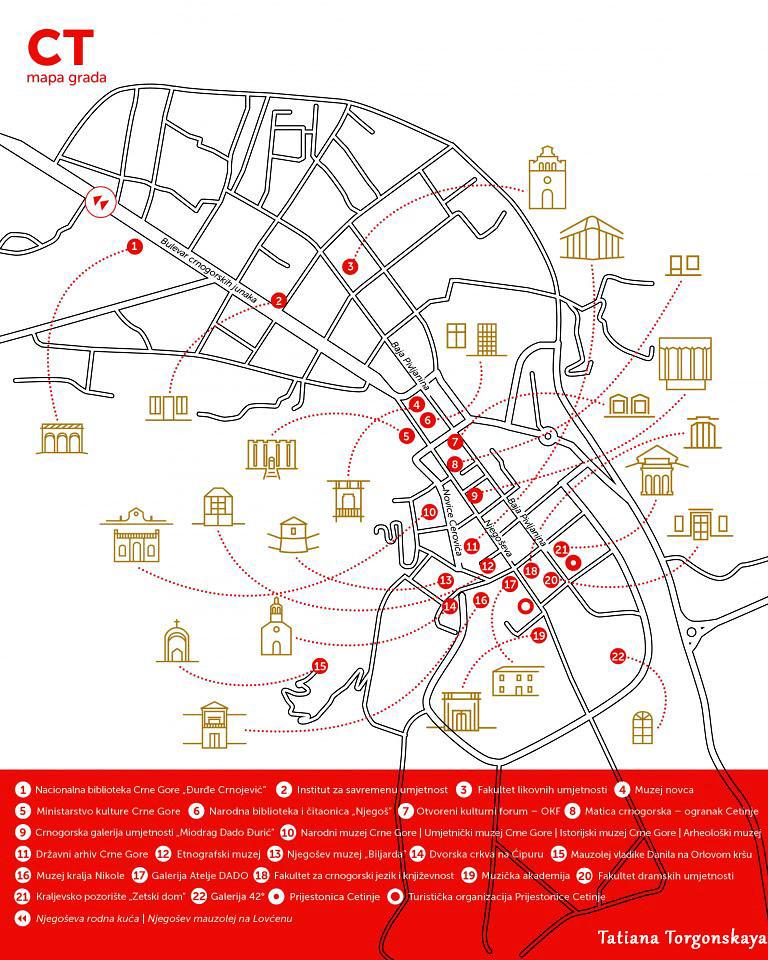 Карта Цетине с музеями, галереями, культурными учреждениями