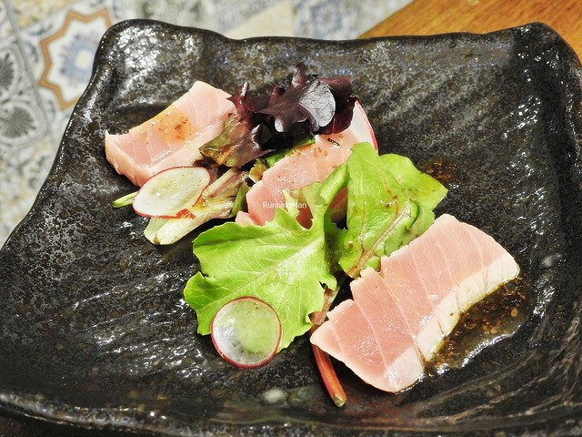 Bluefin Tuna Fish Carpaccio With Salad And Japanese Shoyu Dressing