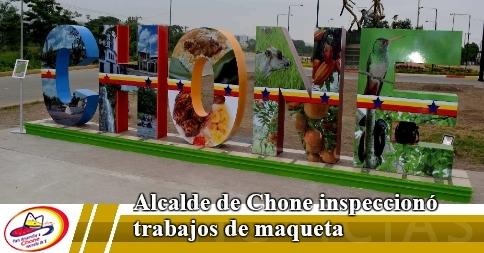 Alcalde de Chone inspeccionó trabajos de maqueta