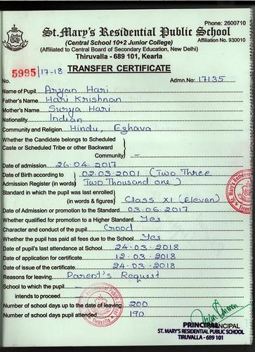 Transfer Certificate