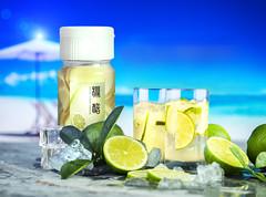 Fresh lime drinks macro shot