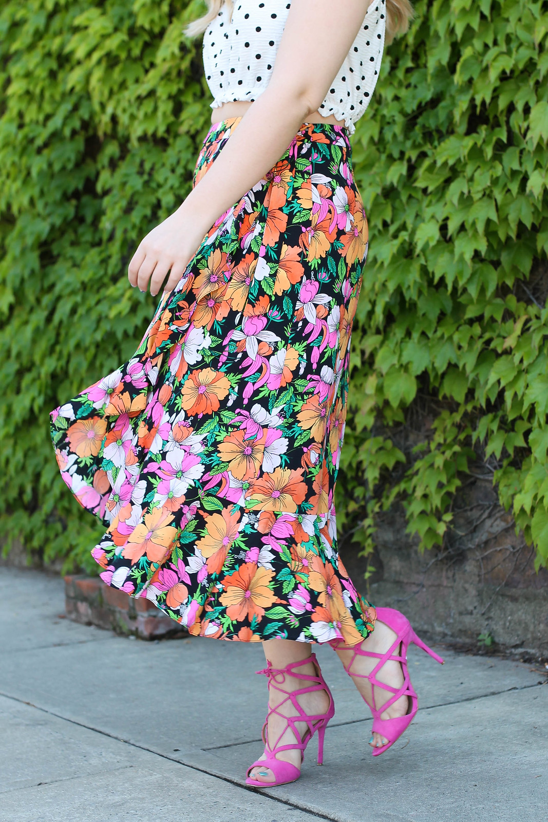 Topshop Heavy Petal Print Midi Skirt Nordstrom Westchester Pink Lace Up Sandals