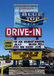 IN, Highland-U.S. 41 Johnsen's Blue Top Drive In Neon Sign