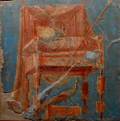 """Throne with Hera's attributes"" - wall painting (1st century AD) from Herculaneum, House of the Deer - Exhibition ""Hero"" up July 31, 2018 at Archaeological Museum of Naples"
