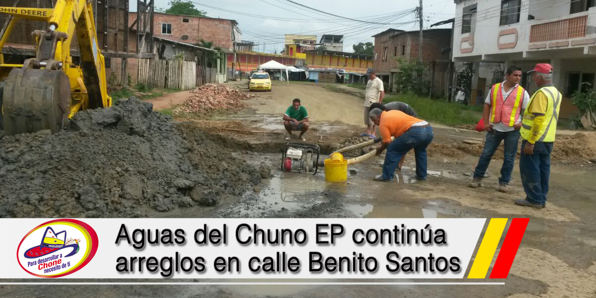 Aguas del Chuno EP continúa arreglos en calle Benito Santos