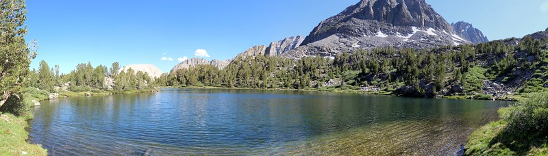 Looking south from the shore of Seventh Lake - our camp was on that small granite rise on the left