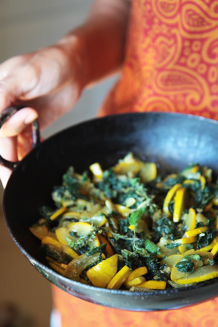 Stewed Zucchini with Greens