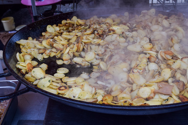 Fried Pork and Potatoes at Sarlat Market, South West France #potatoes #pork #sarlat #market #farmersmarket #france #dordogne