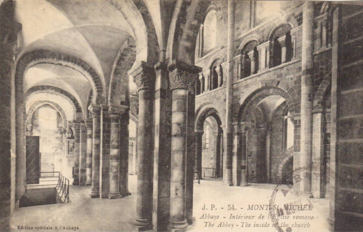 Postcard showing the interior of the abbey at Mont Saint-Michel.