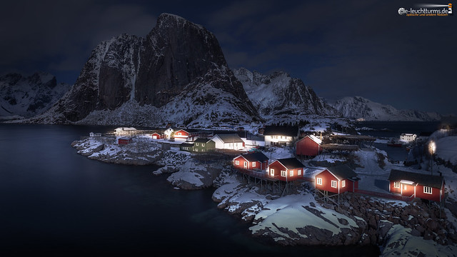 Hamnøy in moonlight