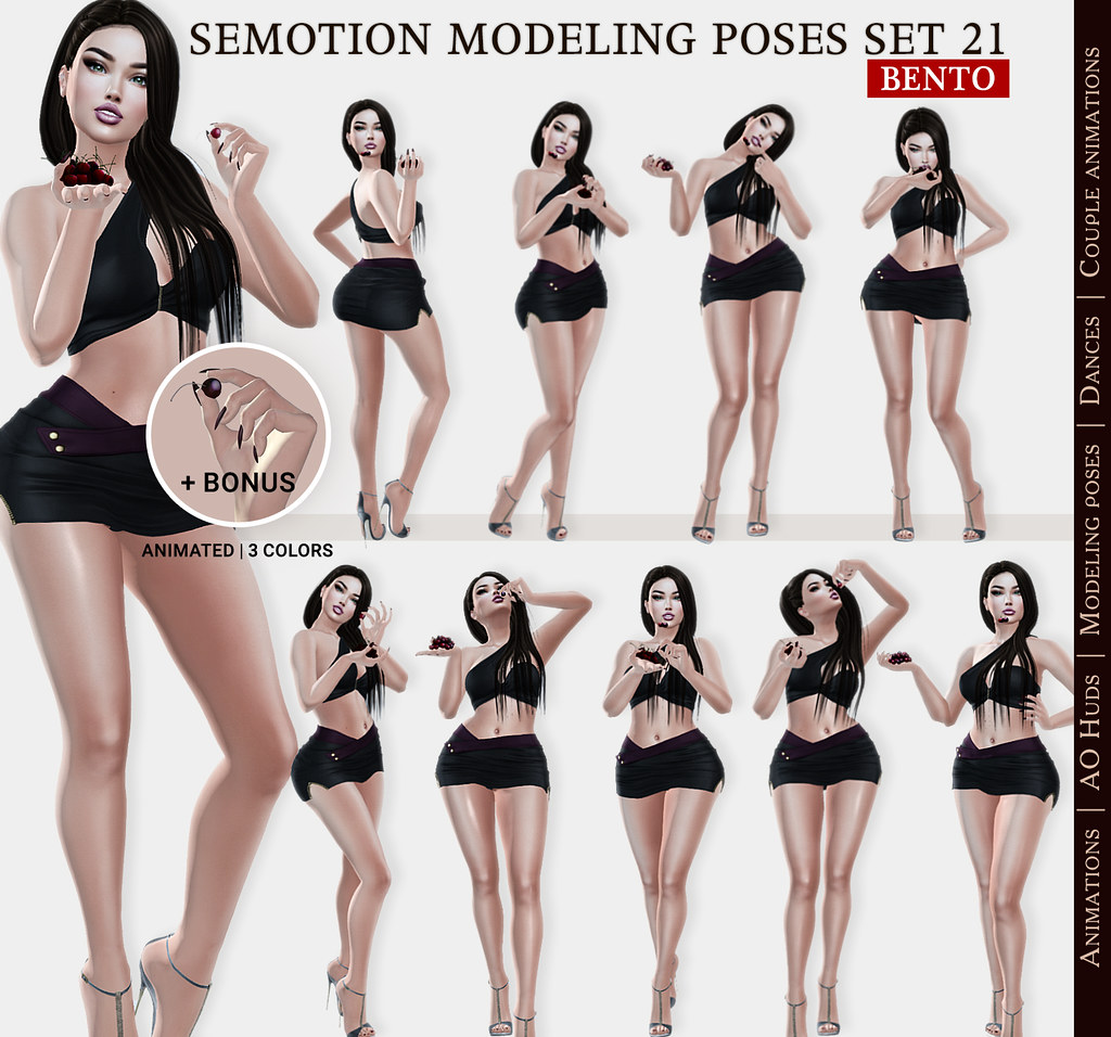SEmotion Female Bento Modeling poses Set 21 – 10 static poses + Bonus one rigged sweet cherry holded in fingers
