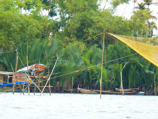 Traditional fishing net system set up along the slow moving rivers along the central Vietnamese coast