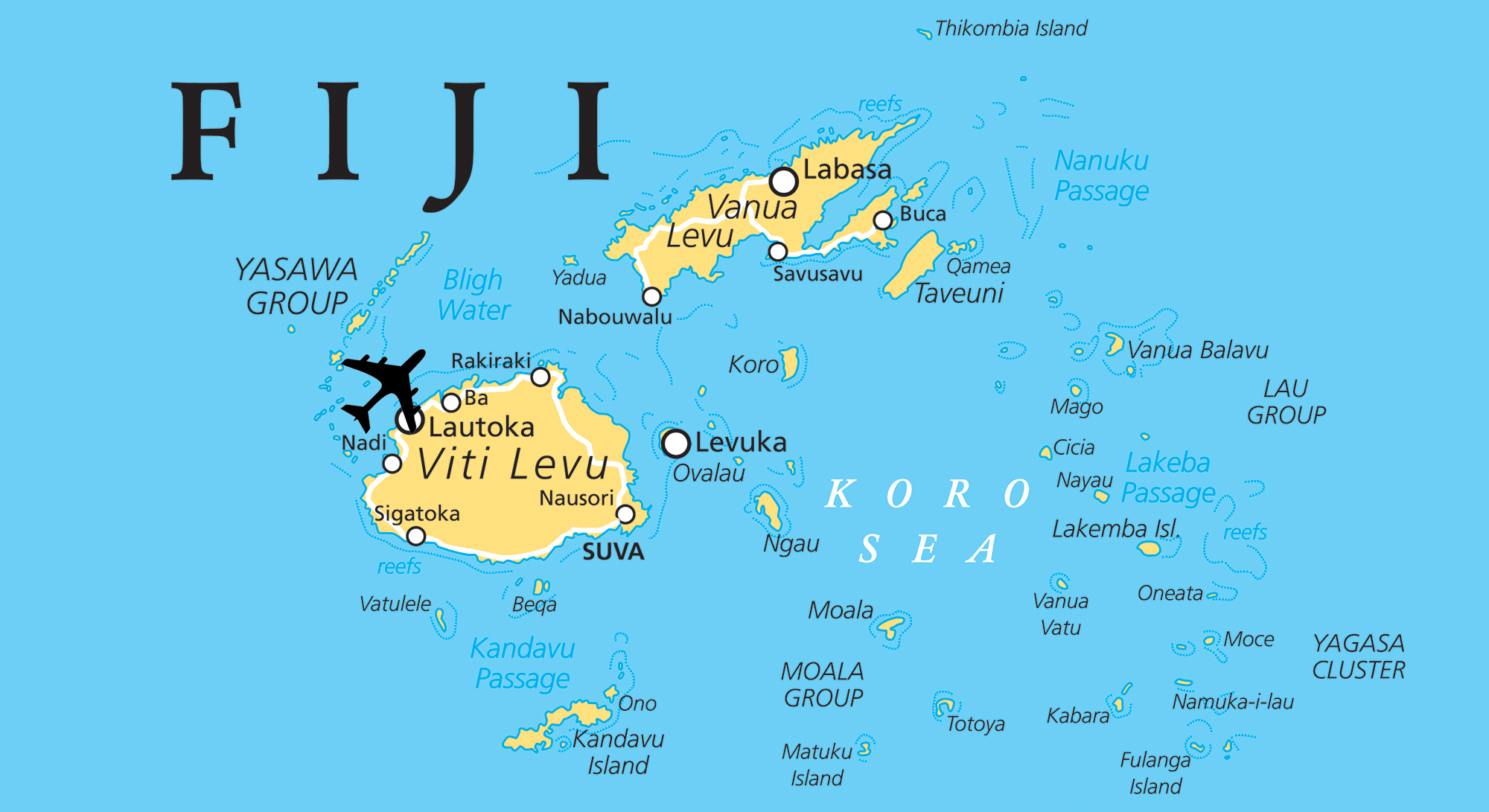 Political map of Fiji