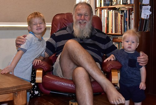 Paul Weaver with grandsons Lincoln and Tate 21 April 2018