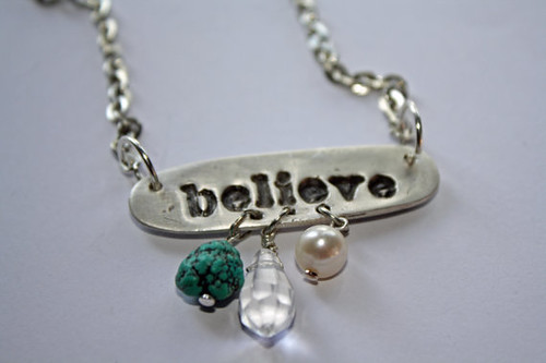 Precious Metal Clay Pendant with words