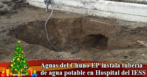 Aguas del Chuno EP instala tubería de agua potable en Hospital del IESS
