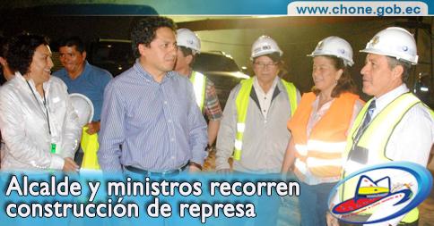 Alcalde y ministros recorren construcción de represa