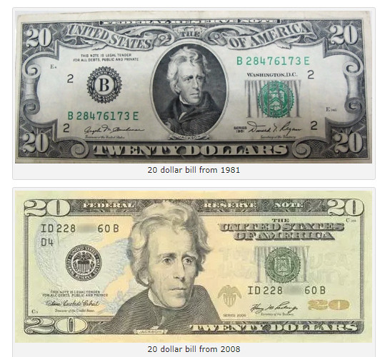 $20 bill changes