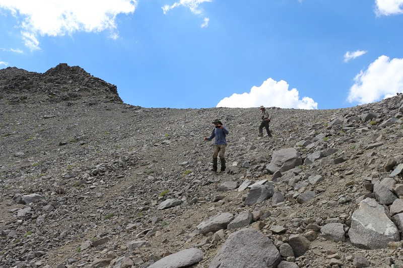 Descending the scree slope via shoe-skiing - lots of mini-avalanches but we descended rapidly