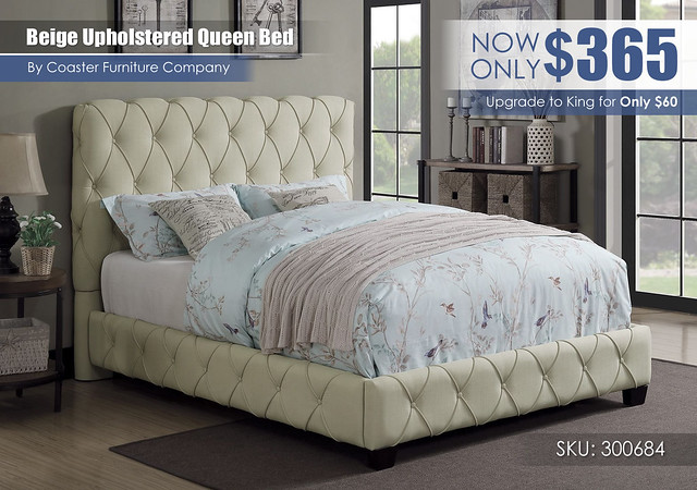 Beige Upholstered Queen Bed_300684