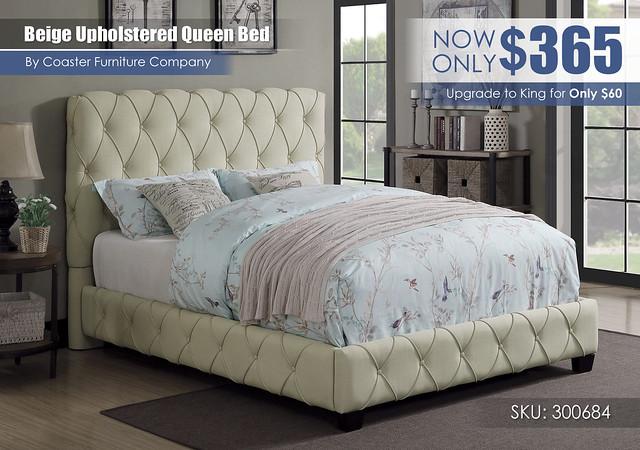 Beige Upholstered Queen Bed_300684