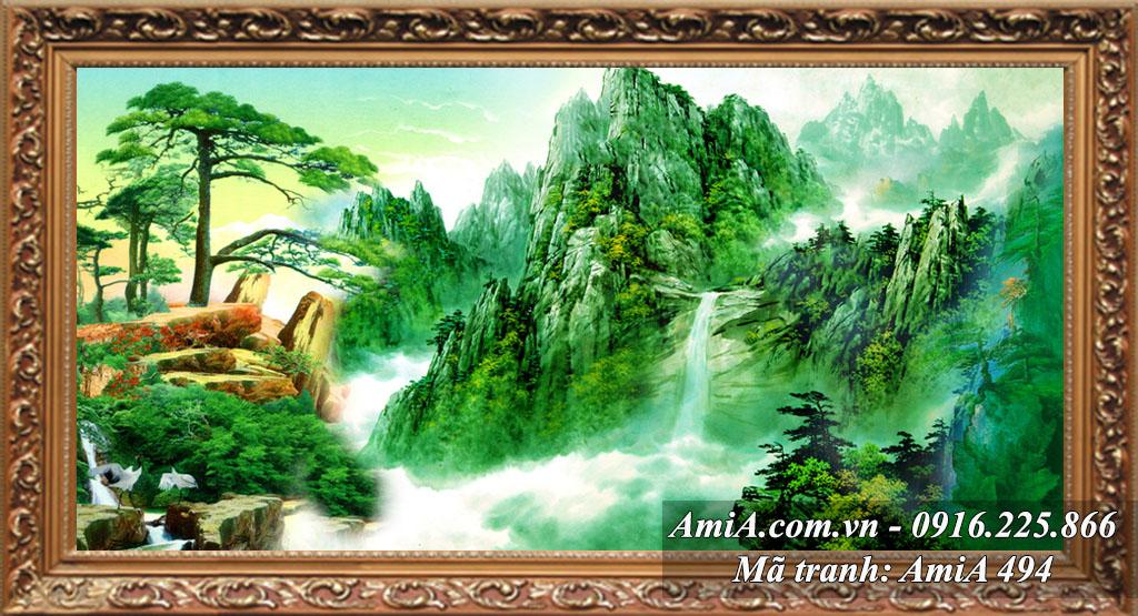 Tranh đẹp phong cảnh đồi núi thác nước trời mây