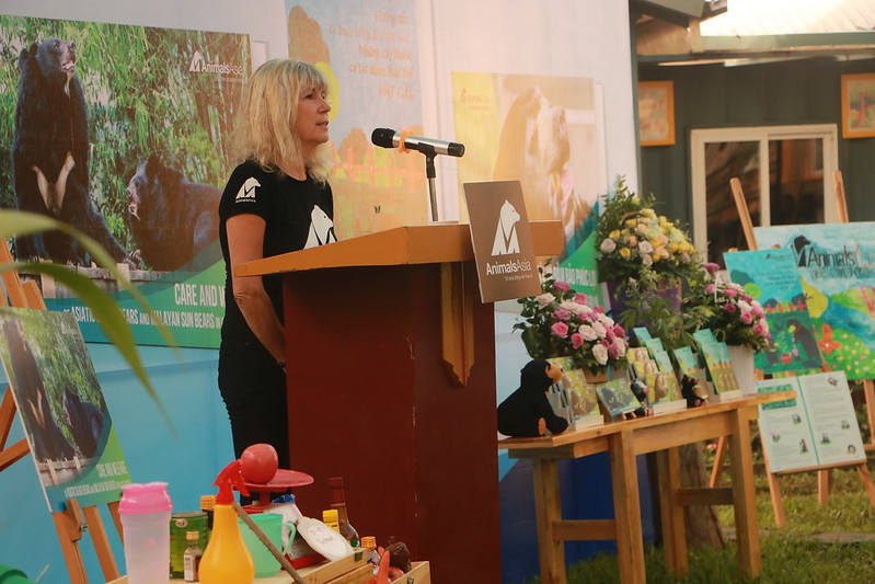 Animals Asia's Founder and CEO Jill Robinson speaks at the event