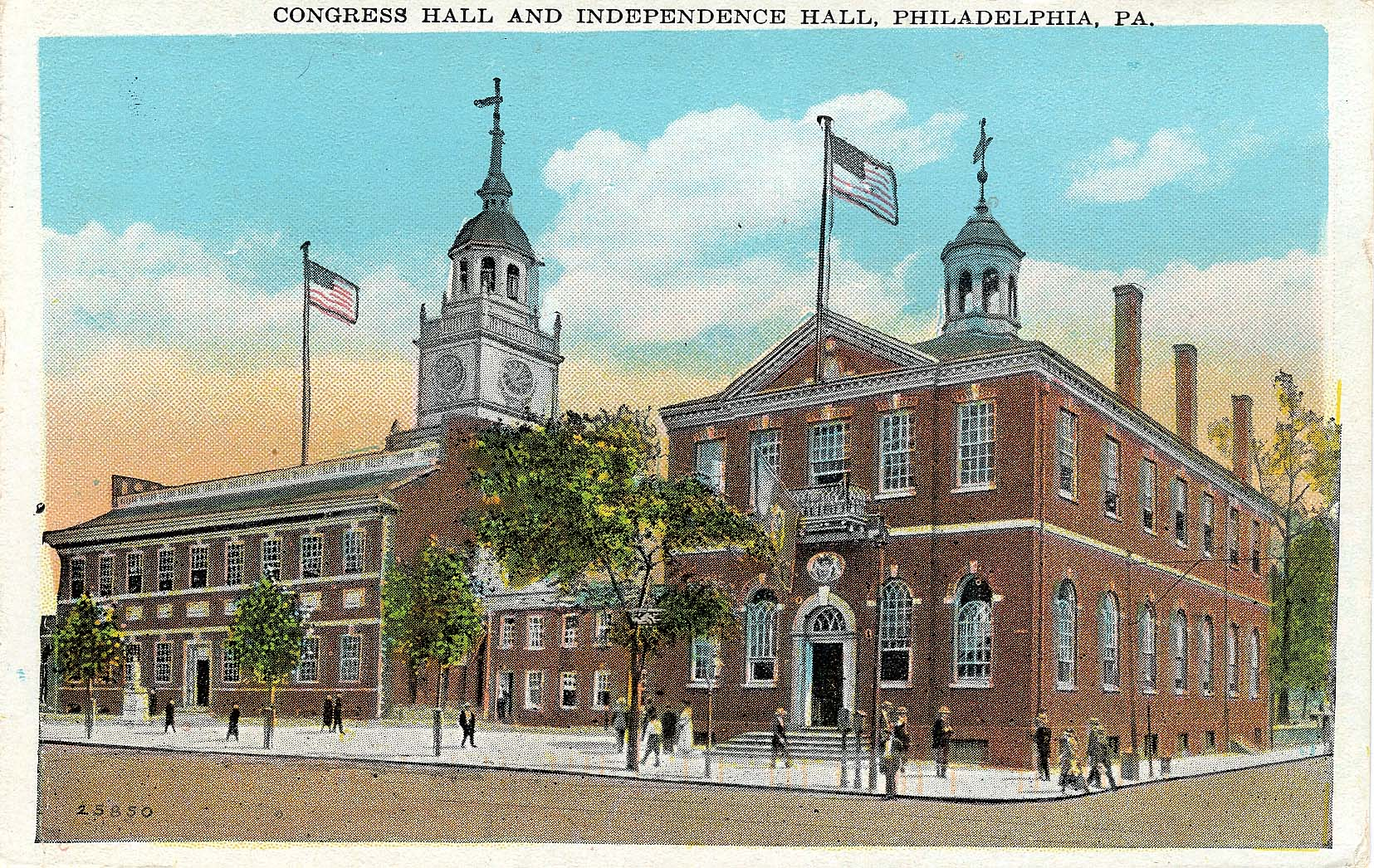 Independence Hall (left) and Congress Hall (right) in Philadelphia, Pennsylvania.