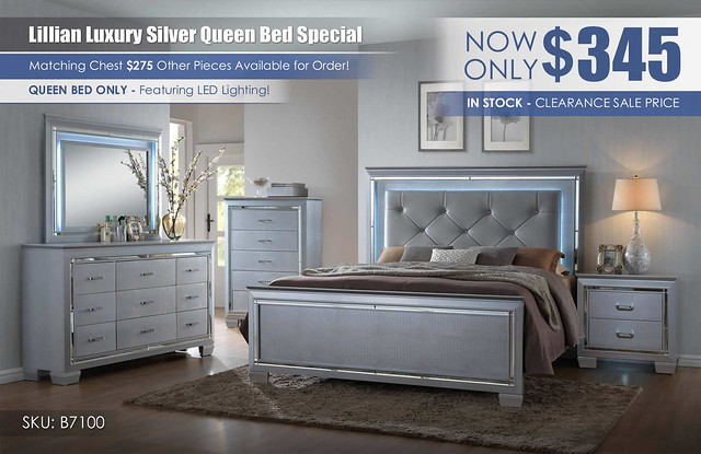 Lillian Silver Clearance Bed Only Special_B7100_V2