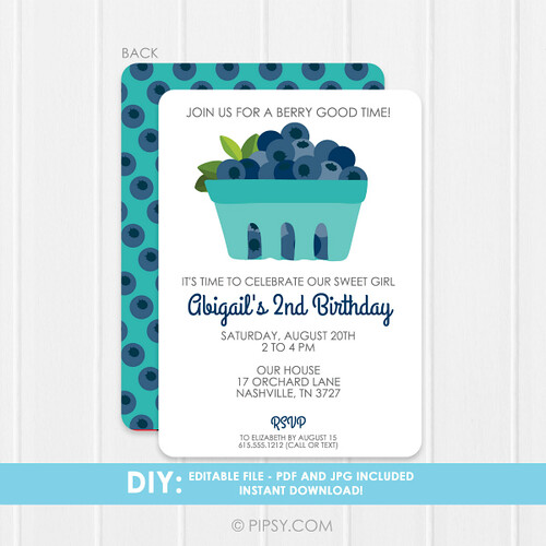 Blueberry Birthday Party Invitation