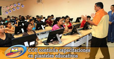 COE continúa capacitaciones en planteles educativos
