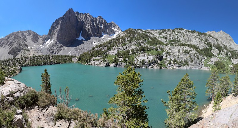 Panorama view over Third Lake with Temple Crag from the North Fork Big Pine Creek Trail