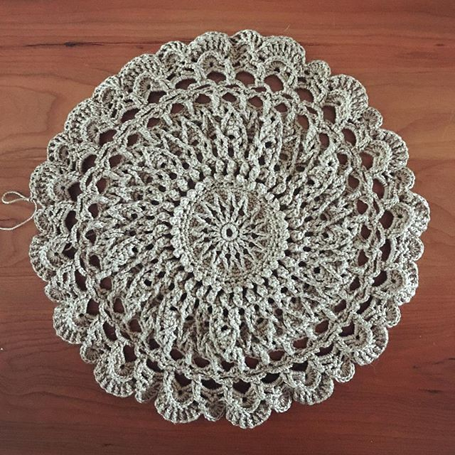 Last week's airplane crochet project... a few more rounds to go. #doily #agnesdoily #crochet
