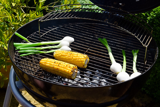 Grilling Veggies on the barbecue #barbecue #grilling #steak #skewers #kabobs #chimichurri
