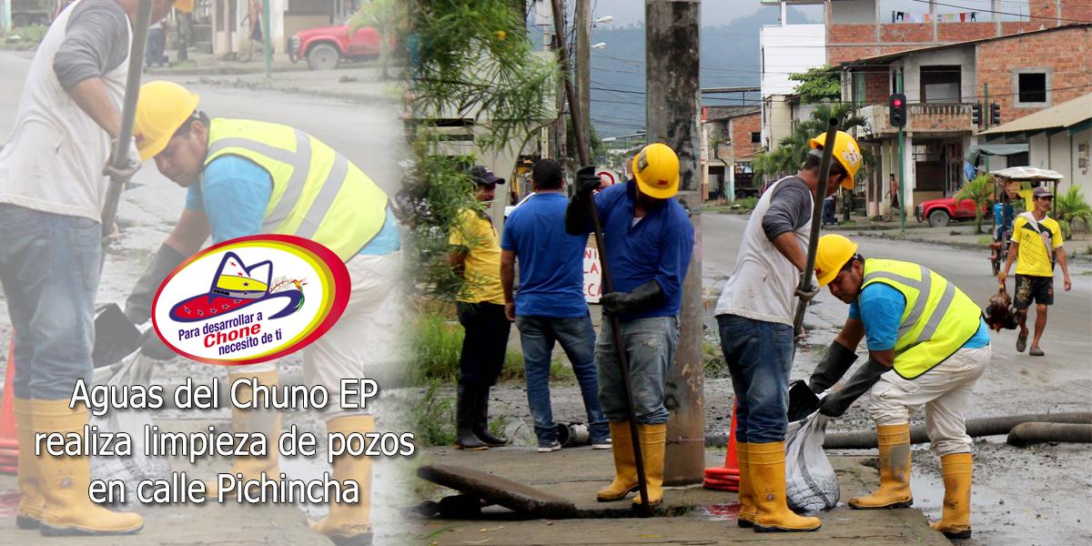 Aguas del Chuno EP realiza limpieza de pozos en calle Pichincha