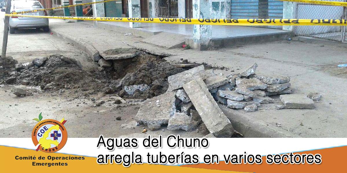 Aguas del Chuno arregla tuberías en varios sectores