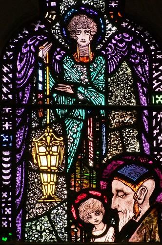 Ballinrobe, County Mayo, glass by Harry Clarke, lamp