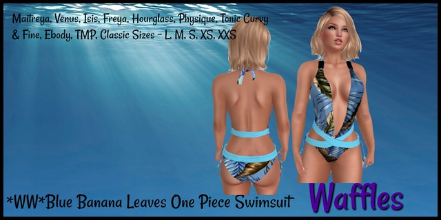 WWBlue Banana Leaves One Piece Swimsuit1024