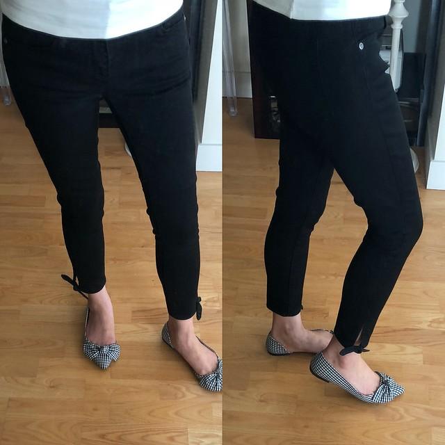 LOFT Modern Tie Cuff Skinny Crop Jeans in Black, size 25/0P