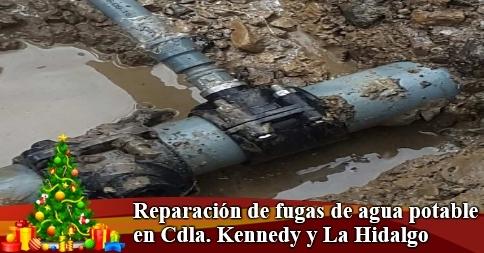 Reparación de fugas de agua potable en Cdla. Kennedy y La Hidalgo