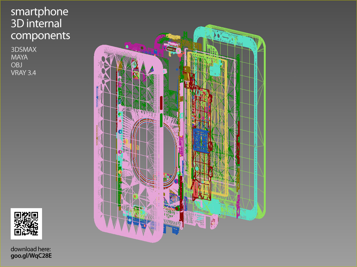 Smartphone 3D components set