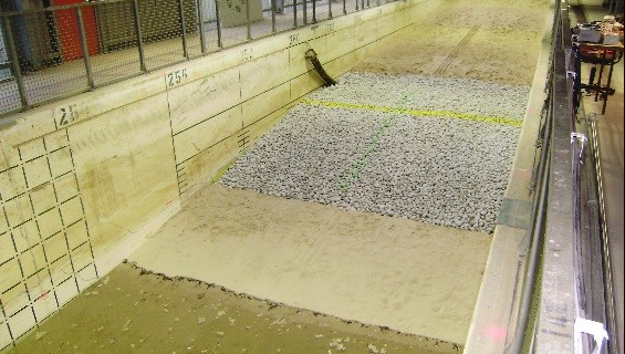 Photo of the revetment tested in the large scale flume