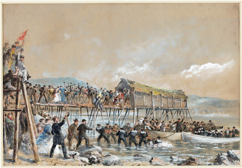 Landing of the Atlantic Cable of 1866, Heart's Content, Newfoundland, by Robert Charles Dudley, 1866. Peter Winkworth Collection. Library and Archives Canada.