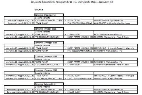 Calendario Under 18 - Fase inetrregionale