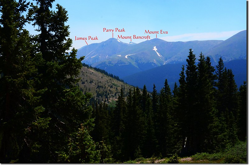 Looking east at James Peak Wilderness from the #2 unnamed lake 1-1