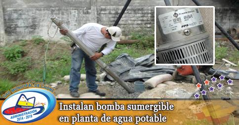Instalan bomba sumergible en planta de agua potable