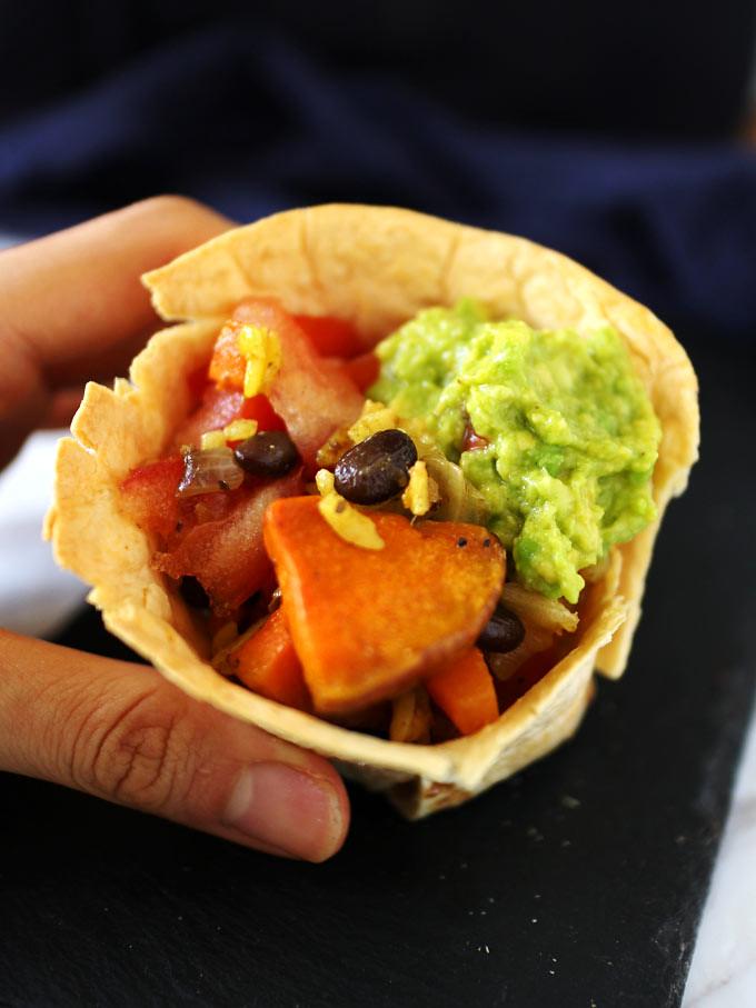 Pumpkin, Black Bean, And Avocado in Tortilla Cups (5)