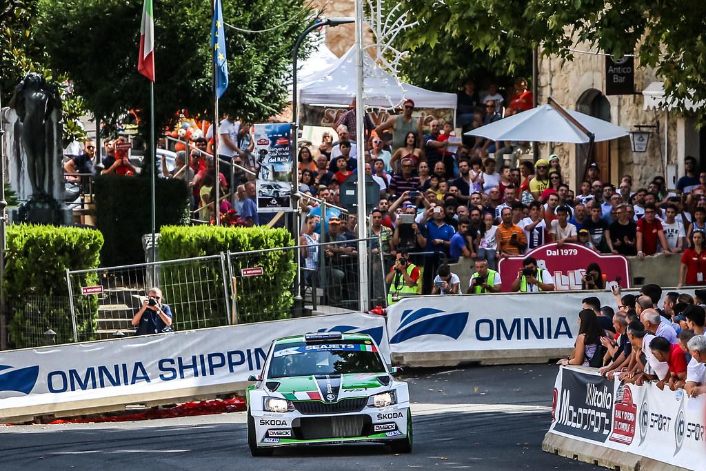 21 Umberto Scandola (ITA), Guido D'Amore (ITA), S.A. Motorsport Italia Srl, SKODA FABIA R5, action during the 2018 European Rally Championship ERC Rally di Roma Capitale,  from july 20 to 22 , at Fiuggi, Italia - Photo Thomas Fenetre / DPPI